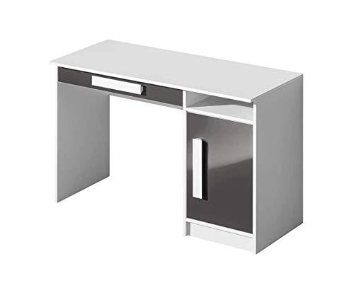 Furniture24 Schreibtisch GULIVER 09 Kinderschreibtisch mit Tür und Schublade Schülerschreibtisch Arbeitstisch (Weiß/Grau Hochglanz)