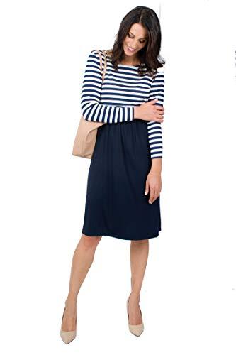 Mania Stillkleid Lilly Maritim, schicke & Bequeme Stillmode, ermöglicht diskretes Stillen, Stillkleid + Langarm-Shirt, A-Linie, figurschmeichelnd, Marineblau/weiß, Größe: M