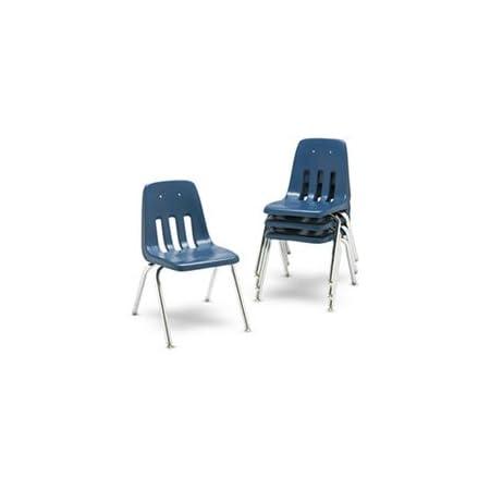 Mid-Century Modern Dark Royal  Blue,Chrome Stackable Chairs Child Chair 4 Matching Chair SET Virco School Chair