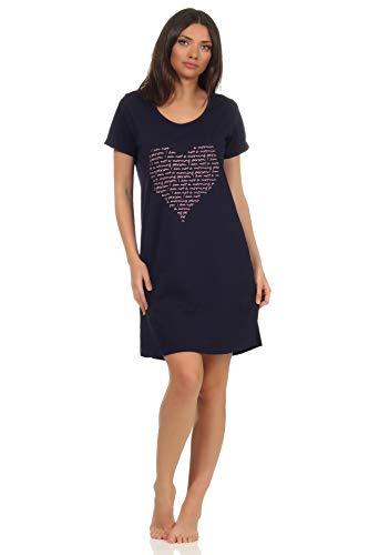 NORMANN-Wäschefabrik Damen 2er Pack Kurzarm Nachthemd Schlafshirt mit Herz Motiv, Farbe:Marine, Größe:XL