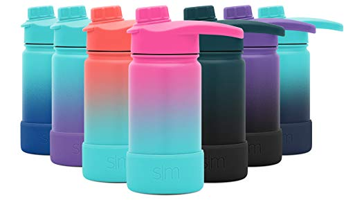 Simple Modern 14 Ounce Summit Water Bottle with Chug Lid & Protective Boot - Hydro Vacuum Insulated Flask 18/8 Stainless Kids - Ombre: Sorbet