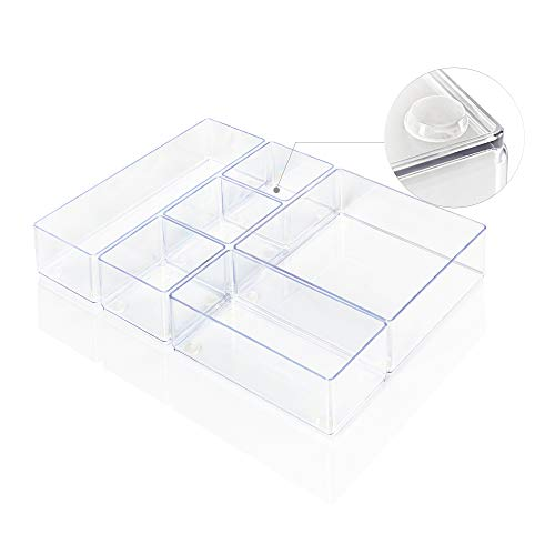 Lilly Things® ANTIRUTSCH Schubladen Ordnungssystem (6er Set, transparent) Schubladen Organizer Schubladeneinsatz Tablett Aufbewahrungsbox für Make-Up Kosmetik Schminktisch Schreibtisch Büro Bad Küche