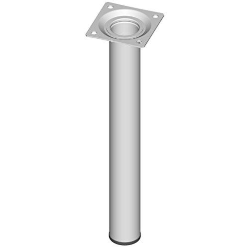 Element System 4 Stück Stahlrohrfüße rund, Tischbeine, Möbelfüße inklusive Anschraubplatte, Länge 25 cm, Durchmesser 30 mm, 4 Farben, 11 Abmessungen, weiß, 11100-00025