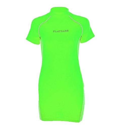 Justtime Voorjaar- en zomervrouwen, reflecterende strepen, geborduurde jurk, naaien Large groen
