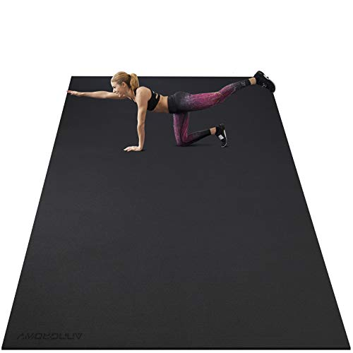 Large Exercise Mat 8'x5'x7mm Workout Mat for Home Gym Mats Exercise Equipment Gym Flooring Rubber Fitness Mat Thick Yoga Mat for Weightlifting, Cardio, Jump Rope, Treadmill, MMA, Stretch, Dance