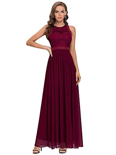 Ever-Pretty A-línea Vestido de Fiesta Cuello Redondo sin Mangas Encaje Gasa para Mujer Borgoña 46