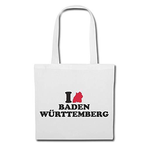 Tasche Umhängetasche I Love Baden WÜRTTEMBERG - Freiburg - EMMENDINGEN - SCHWARZWALD - KAISERSTUHL Einkaufstasche Schulbeutel Turnbeutel in Weiß