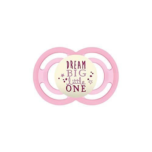 MAM Perfect Night Schnuller ab 6 Monaten, beugt Zahnfehlstellungen vor, besonders dünner und flexibler Silikonschnuller, leuchtet im Dunkeln, rosa