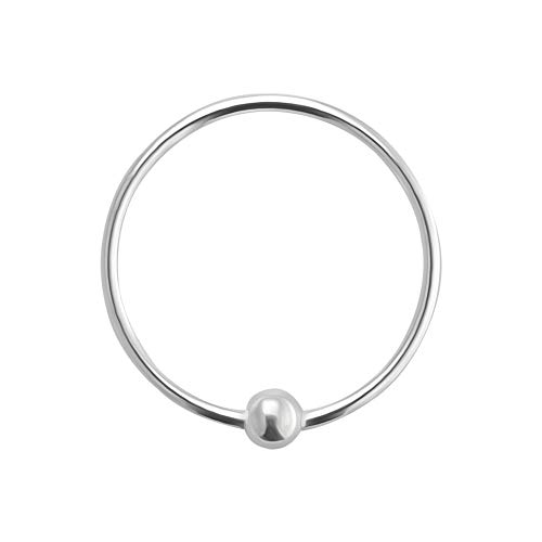 AZARIO LONDON 8MM Diameter - Captive Bead Hoop Nose Ring 925 Sterling Silver Nose Piercing Ring