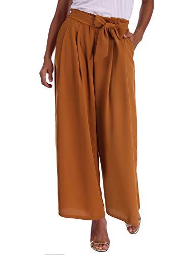 Abollria Damen Weite Hose Chiffon Paperbag Hose Casual Hosen Weite Bein Hohe Taille mit breiter Gummibund und Gürtel - 6