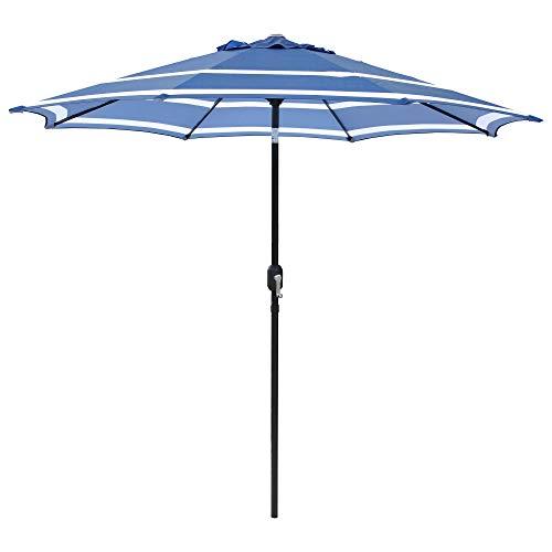 ABBLE Outdoor Patio Umbrella 9Ft Umbrella Stripe Royal with Crank and Tilt Market Umbrella Picnic Table Umbrella Pool Umbrella for Garden, Deck, Backyard and Beach-Royal Blue & White.