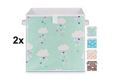 Just For You 2 stuks speelgoeddozen dubbelverpakking 33x33x33 cm set voor kinderkamer opbergdoos kisten met handgrepen voor speelgoed, kleding, luiers Wolken Mint