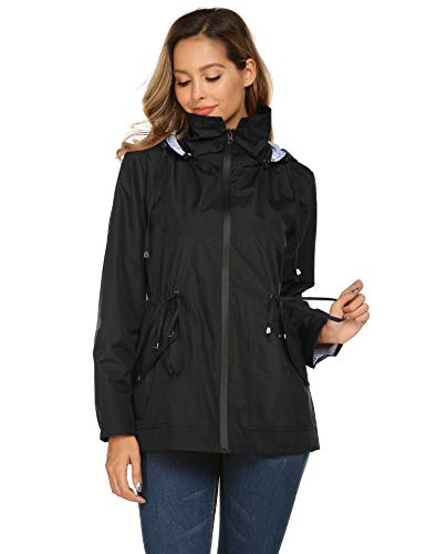 Avoogue Rain Jacket Women Waterproof Stripe Lined Raincoat Outdoor Travel Windbreaker - Black - Small