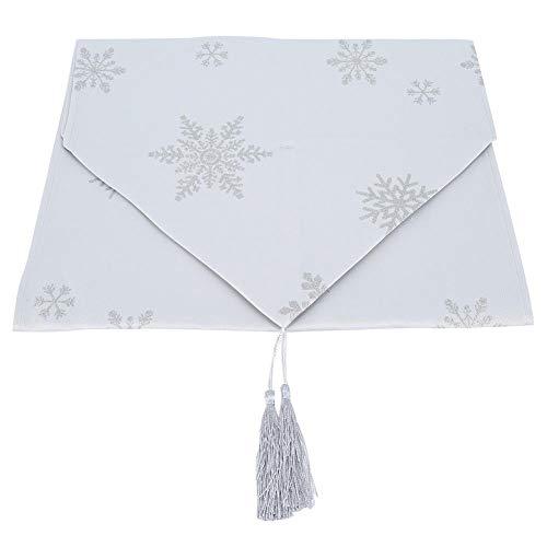 TOPINCN Kersttafel Runner prachtige sneeuwvlok patroon met kwastjes 78.7In lange eettafel doek voor binnen of buiten kerstfeesten