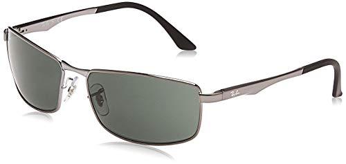 Ray-Ban Unisex Rb 3498 Sonnenbrille, Grau (Gestell: Gunmetal, Gläser: Grün Klassisch 004/71), X-Large (Herstellergröße: 61)