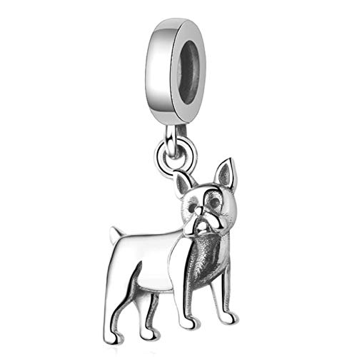 EVESCITY 925 Silver Boston Terrier Dog Breed Bead for Charms Bracelets ♥ Best Jewelry Gifts for Pet Lovers ♥