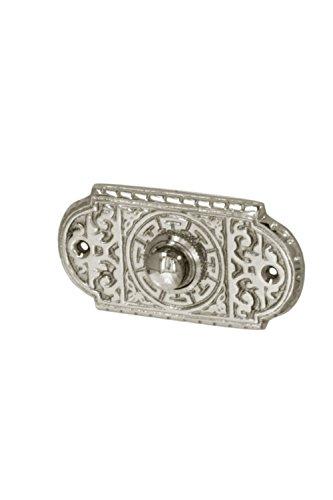 Antik Türklingel, N9151, aus Messing vernickelt und hochglanz poliert, mit Klingelplatte und Klingeltaster - handgefertigt nach antiken Vorlagen