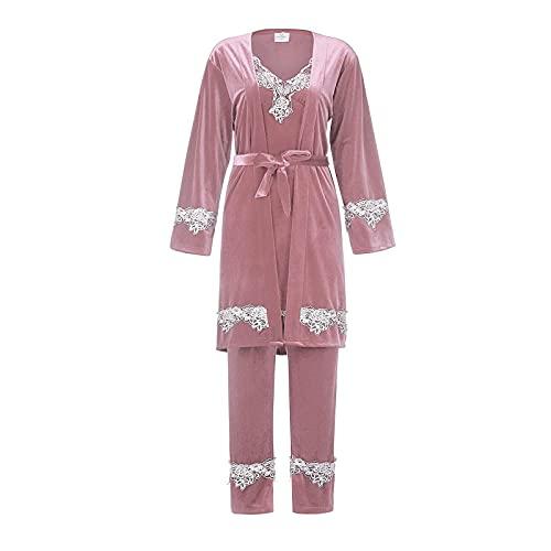 Conjunto De Pijamas De Terciopelo, Camisón con Tirantes Sexi para Mujer, Pijama De Terciopelo Dorado, Camisón De Encaje, Pantalones, Servicio A Domicilio De Tres Piezas, L Rosa
