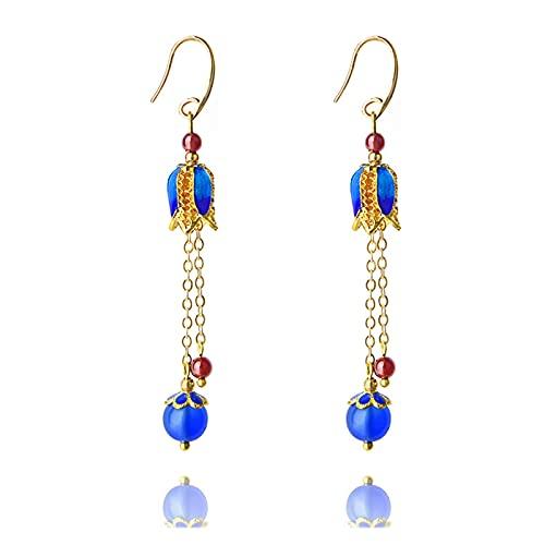YANGYUAN Nuevo Granate Rojo Vintage Cadenas de Cobre Pendientes para Mujeres, Piedras de Naturaleza Azul Pendientes étnicos Joyería, Pendientes Cuelgan de la Moda