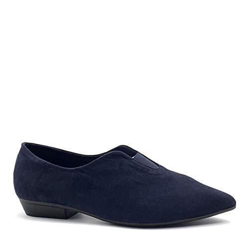 Angkorly - Damen Schuhe Oriental Hausschuhe Ballerina - Flexible - Slip-on - Dekolleté - Einfach Basic - Basic Blockabsatz 2 cm - Blau DE1081 T 40