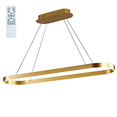 Modern Chandelier Circular LED Dimmable 66W 1 Linear Chandelier LED Acrylic Pendant Chandeliers Lighting Contemporary Dining Table Entry Kitchen Island with Remote Hanging Light (Gold)