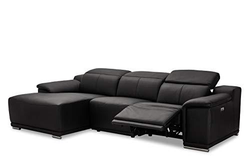 Ibbe Design Modul Sofa L Form Ecksofa Schwarz Leder Heimkino Couch Links Chaiselongue Alexa mit Elektrisch Verstellbar Relaxfunktion, 282x160x73 cm