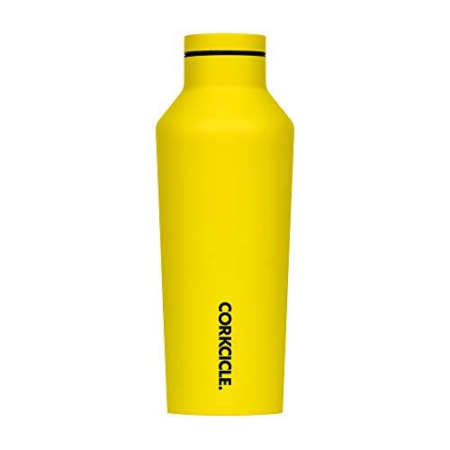 Cantimplora de luces de neón de corcho | Botella de agua de acero inoxidable con triple aislamiento, amarillo, 9 oz / 265 ml