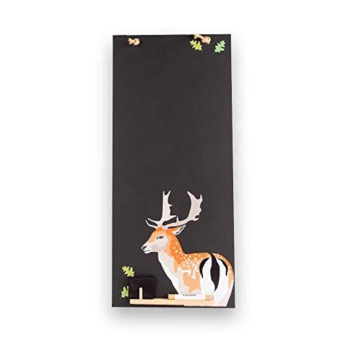Chalkboards UK Tableaux Noirs Britannique Cerf Tall Mince Tableau Noir/Tableau Noir/Tableau Memo de Cuisine avec Corde, Plateau et Craie. Les cabines Design Range, Bois, Noir, 60 x 26.5 x 1 cm
