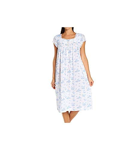 Eileen West Woven Cap Sleeve Waltz Gown White Ground/Blue Floral MD