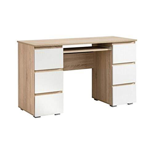 Escritorio moderno con aspecto de madera para el hogar, oficina, ordenador y ordenador portátil, con 6 cajones abiertos y cierre suave, color roble Sonoma marrón y blanco mate