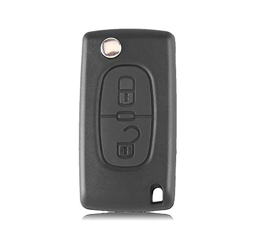 Carcasa plegable para llave de coche con 2 botones para Peugeot 207 307 308 407 (2 botones, HU83 Blade-CE0523)