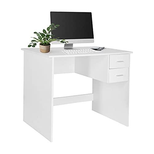 hjh OFFICE Basix 821004 - Escritorio para ordenador (90 x 48 cm, 2 cajones, ahorra espacio y es fácil de limpiar), color blanco