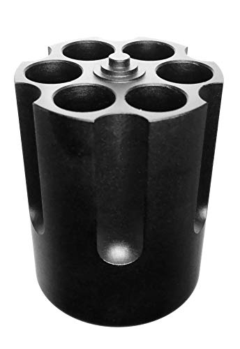 (P-Rize) ペン立て リボルバー シリンダー 型 メタル 金属 製 穴直径 1cm 6箇所 ペン スタンド ミリタリー (ブラック)