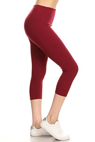 "LY5CPX128-BROWN 5"" Waistband Yoga Solid Capri Leggings, Plus Size"