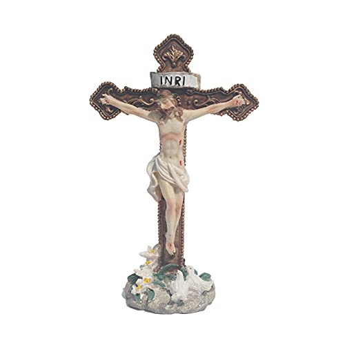 showyow Estatua de crucifijo, Estatua de Cristo clavada en la Pared de Resina Cruzada, decoración de Mesa católica, colección de decoración de Regalo