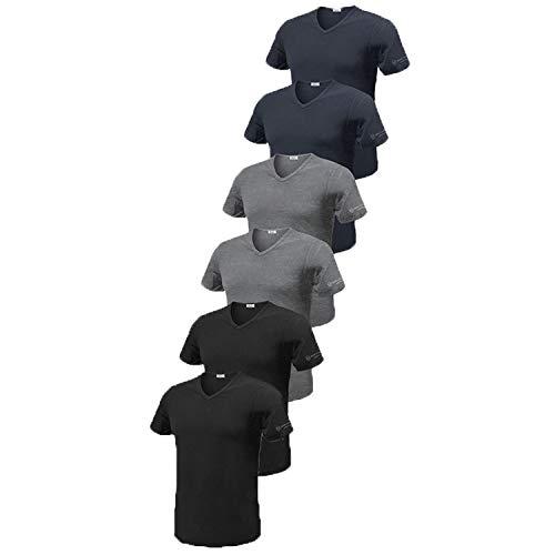 Sergio Tacchini, Set da 6 Tshirt in Cotone Pettinato Modello Collo a V. Assortito 6