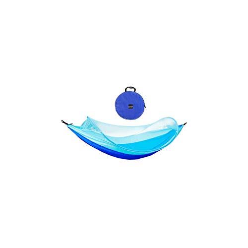 INTER FAST Hängematte mit Moskitonetzen, vielseitig einsetzbar, für draußen, drinnen, Garten, Camping, Schaukelbett, ultraleicht, tragbar, mit Tasche, 260 x 150 cm (Farbe: Blau)
