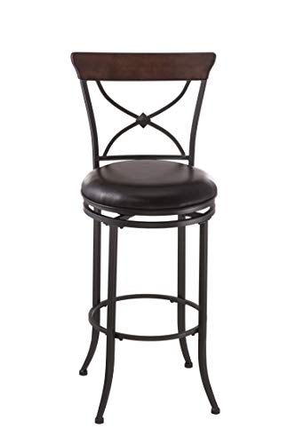 Hillsdale Furniture Cameron Swivel X-Back Bar Stool, Charcoal Gray and Chestnut Brown
