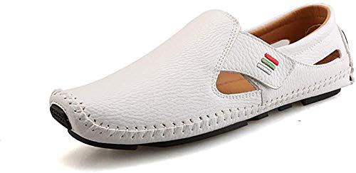 Sandalias de cuero para hombre con puntadas a mano suaves al aire libre con puntera cerrada, zapatos de senderismo y playa con diseño de velcro, 39 EU_White Iteration