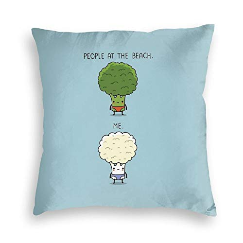 Ryuji Broccoli at The Beach Velvet Throw Pillow Covers Cozy Square Throw Pillow Case Home Decoration for Bed Couch Sofa Living Room Cushion Cover 18'X18'