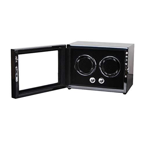 Caja automática de lujo para reloj doble con pintura de piano de madera de lujo, motor silencioso para 1 o 2 relojes de pulsera caja de regalo (color B-negro)