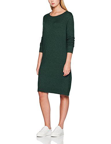 VILA CLOTHES Damen Kleid VIRIL L/S KNIT DRESS - NOOS Grün (Pine Grove Detail: Melange), M