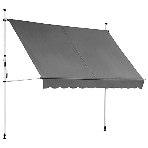 Melko Balkomarkise ohne Bohren Klemmmarkise 300cm inkl. LED Beleuchtung Sonnenmarkise Grau Fenstermarkise Sonnenmarkise