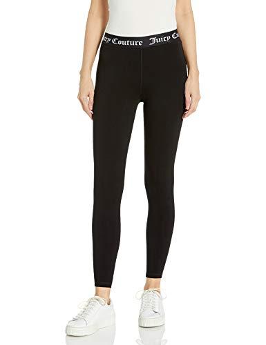 Juicy Couture Women's Cotton Logo Legging, Deep Black, Medium