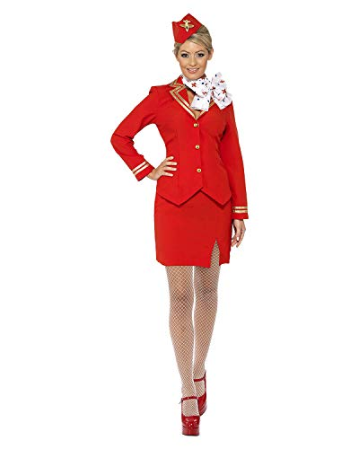 Smiffys Damen Kaffeeschubse Kostüm, Jacke, Rock, Schal und Mütze, Größe: L, 33873