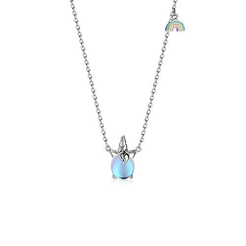 VBN S925 Silber Siebenfarbige Bunte Einhorn Regenbogen Halskette Schlüsselbeinkette