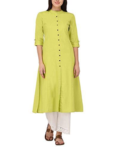 Women's Pure Cotton Plain Tunic Top Front Slit 3/4 Sleeves Roll-UP Chinese Neck Buttons Down Pocket Long Kurti Kurta Parrot-Green