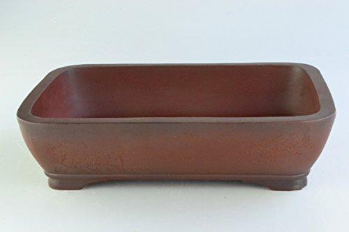 Unglazed Antiqued 14' Rectangular Thin and Shallow Yixing Purple Clay Bonsai Pots (KPA3-14)