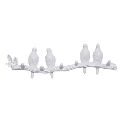 #N/a Gancho de pared colgador de abrigo, pájaros en la rama de árbol colgador de abrigo montado en la pared, decoraciones de pared accesorios para el hogar - Blanco 4 pájaro