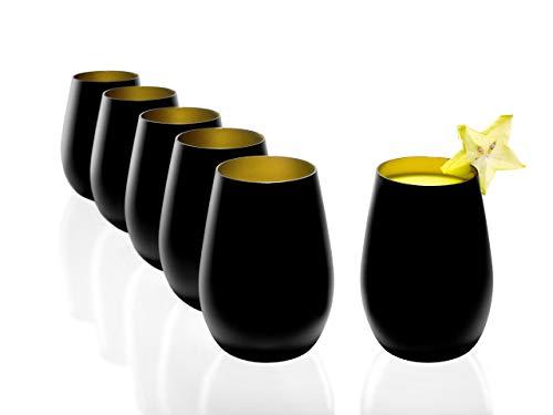 Gobelet Stölzle Lausitz Olympic de 465 ml, lot de 6 verres, verre à eau noir (mat) et or, compatible lave-vaisselle, en cristal sans plomb, de qualité supérieure